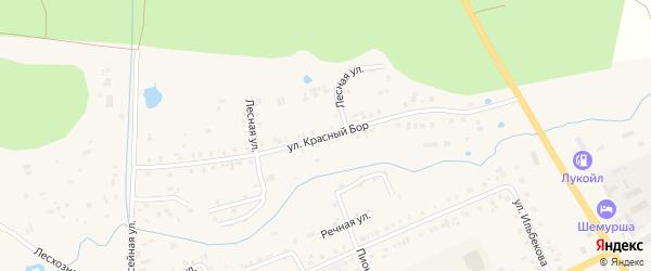 Улица Красный Бор на карте села Шемурши с номерами домов