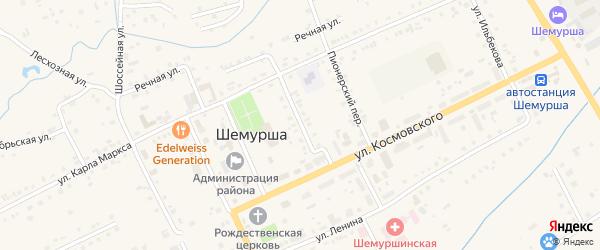 Комсомольский переулок на карте села Шемурши с номерами домов