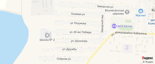 Улица 40 лет Победы на карте Комсомольского села с номерами домов