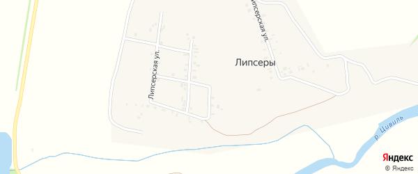 Липсерская улица на карте деревни Липсеры с номерами домов