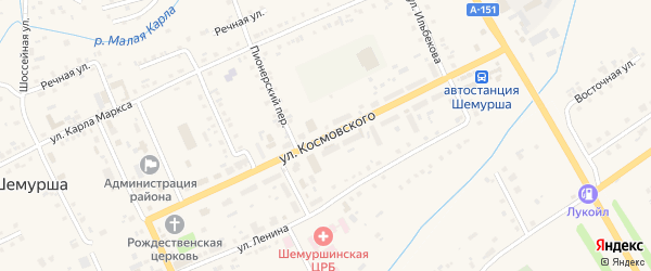 Улица Космовского на карте села Шемурши с номерами домов