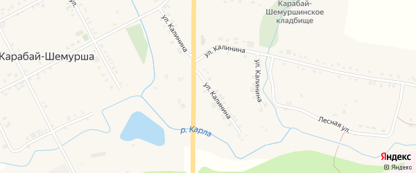 Улица Калинина на карте деревни Карабая-Шемурши с номерами домов