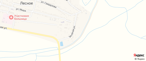 Зеленая улица на карте Лесного села с номерами домов