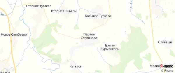 Карта Первостепановское сельского поселения республики Чувашия с районами, улицами и номерами домов