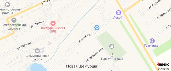 Южная улица на карте села Шемурши с номерами домов