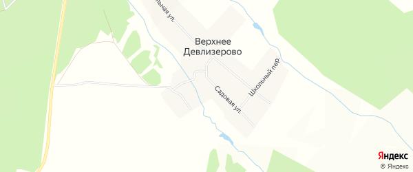 Карта деревни Верхнее Девлизерово в Чувашии с улицами и номерами домов