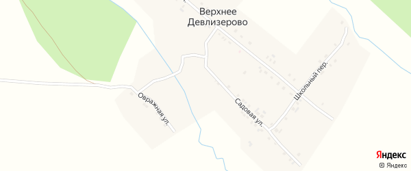 Садовая улица на карте деревни Верхнее Девлизерово с номерами домов