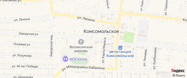Октябрьская улица на карте Комсомольского села с номерами домов