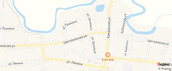 Центральная улица на карте Комсомольского села с номерами домов