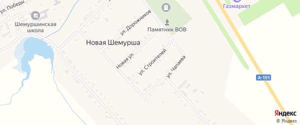 Улица Строителей на карте села Шемурши с номерами домов
