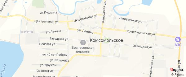 Карта Комсомольского села в Чувашии с улицами и номерами домов