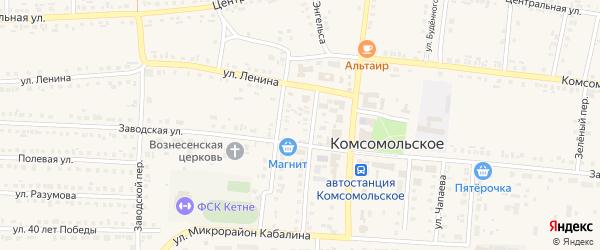 Базарная улица на карте Комсомольского села с номерами домов