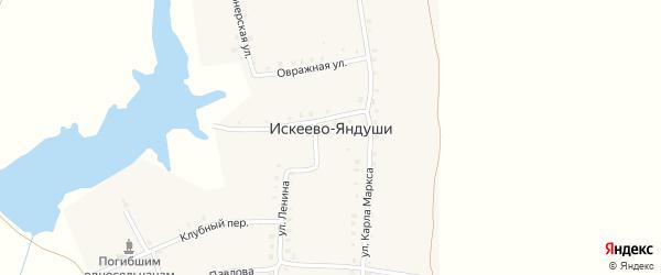 Овражная улица на карте деревни Искеева-Яндуши с номерами домов