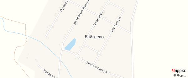 Улица Братьев Афонских на карте деревни Байгеево с номерами домов