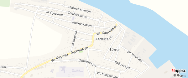 Степная улица на карте села Оли с номерами домов