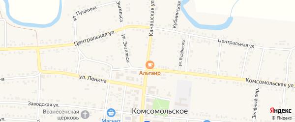 Канашская улица на карте Комсомольского села с номерами домов
