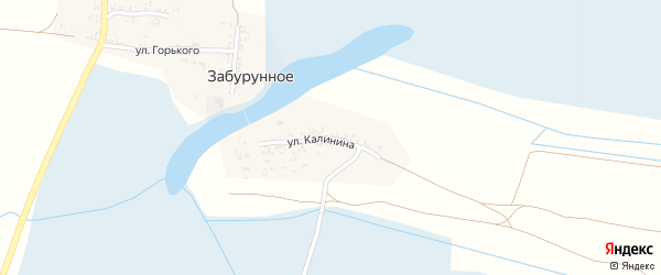 Улица Калинина на карте Забурунного села с номерами домов
