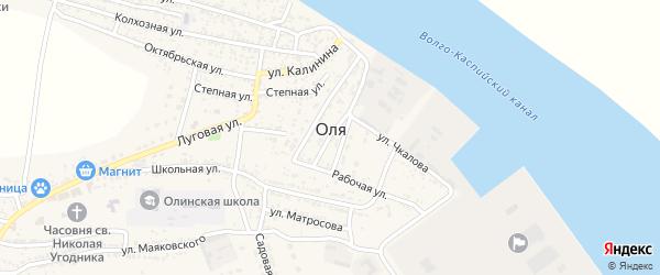 Тихий переулок на карте села Оли с номерами домов