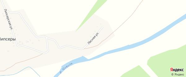 Лесная улица на карте деревни Липсеры с номерами домов