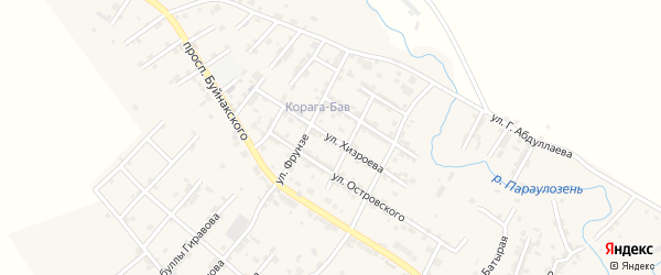 Улица Хизроева на карте села Карабудахкента с номерами домов