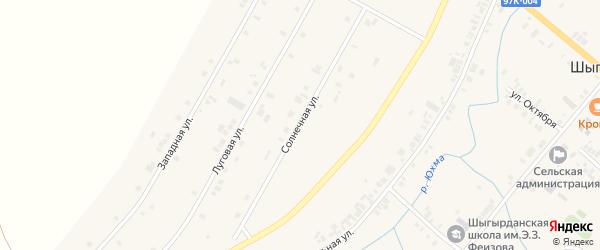 Солнечная улица на карте села Шыгырдана с номерами домов