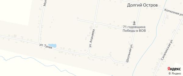 Улица Апанаева на карте деревни Долгого Острова с номерами домов
