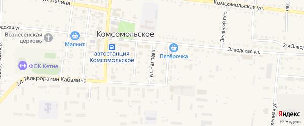 Улица Чапаева на карте Комсомольского села с номерами домов