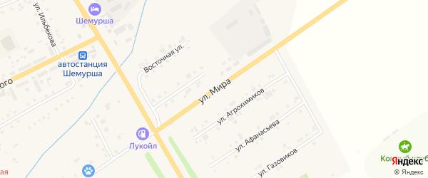 Улица Мира на карте села Шемурши с номерами домов