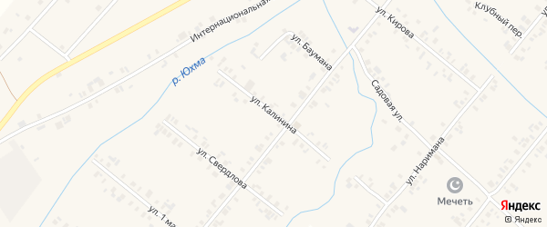 Улица Калинина на карте села Шыгырдана с номерами домов