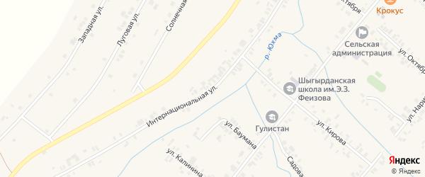 Интернациональная улица на карте села Шыгырдана с номерами домов