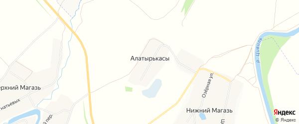Карта деревни Алатырькас в Чувашии с улицами и номерами домов