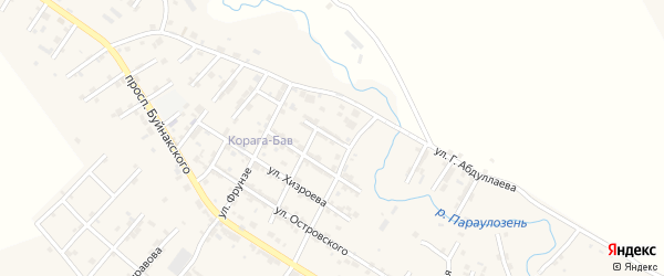 Улица Абакара Хайруллаева на карте микрорайона Мычыгышавул с номерами домов