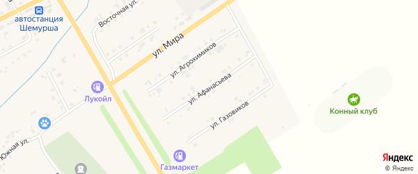 Улица Афанасьева на карте села Шемурши с номерами домов