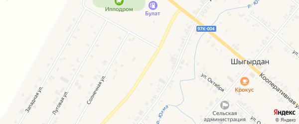 Дорожная улица на карте села Шыгырдана с номерами домов