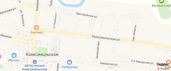 Комсомольская улица на карте деревни Александровки с номерами домов