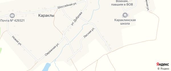Лесная улица на карте деревни Караклы с номерами домов