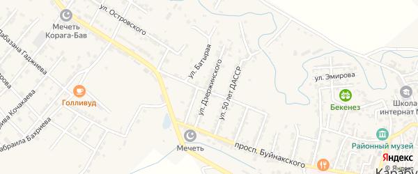 Улица Дзержинского на карте села Карабудахкента с номерами домов