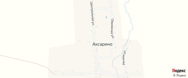 Центральная улица на карте деревни Аксарино с номерами домов