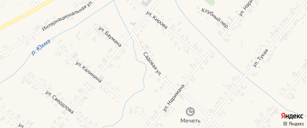 Садовая улица на карте села Шыгырдана с номерами домов