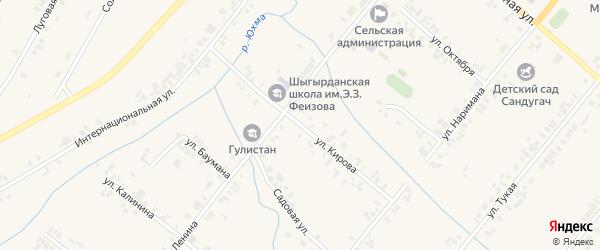 Улица Кирова на карте села Шыгырдана с номерами домов