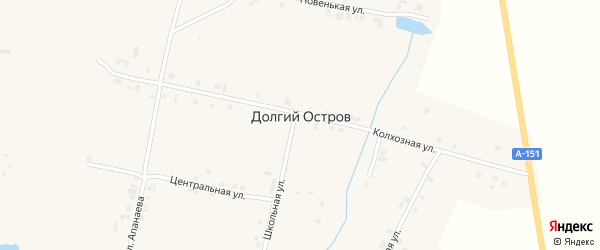 Молодежная улица на карте деревни Долгого Острова с номерами домов
