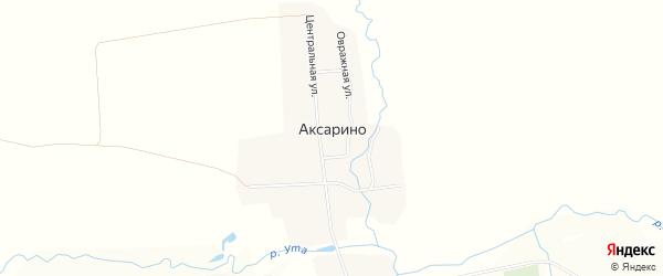 Карта деревни Аксарино в Чувашии с улицами и номерами домов