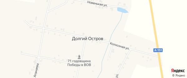 Колхозная улица на карте деревни Долгого Острова с номерами домов