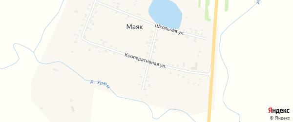 Кооперативная улица на карте деревни Маяка с номерами домов