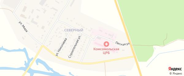 Лесная улица на карте Комсомольского села с номерами домов
