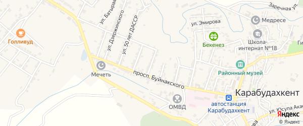 Улица Быковского на карте села Карабудахкента с номерами домов