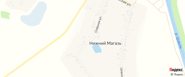 Озерная улица на карте деревни Нижнего Магази с номерами домов