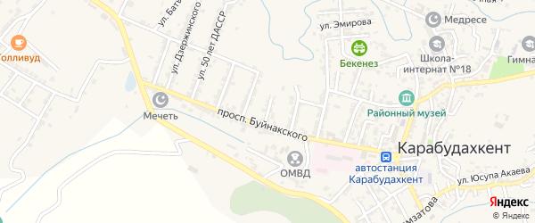 Улица Артема на карте села Карабудахкента с номерами домов