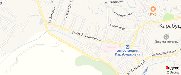 Проспект Буйнакского на карте села Карабудахкента с номерами домов