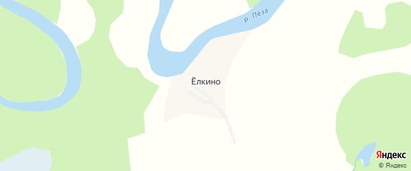 Карта деревни Елкино в Архангельской области с улицами и номерами домов